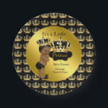 "Royal Gold Black Prince Crown Baby Shower Ethnic Paper Plate<br><div class=""desc"">Elegant Prince Baby Shower Boy Royal Gold Black Little Prince Gold Damask Crown. Ethnic African American Baby Shower &quot;It&#39;s a Prince&quot; For Party Dinner,  Snacks,  Cakes,  food</div>"