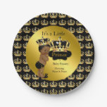 Royal Gold Black Prince Crown Baby Shower Ethnic Paper Plate<br><div class='desc'>Elegant Prince Baby Shower Boy Royal Gold Black Little Prince Gold Damask Crown. Ethnic African American Baby Shower &quot;It&#39;s a Prince&quot; For Party Dinner,  Snacks,  Cakes,  food</div>