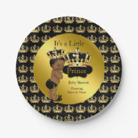 Royal Gold Black Prince Crown Baby Shower Ethnic Paper Plate