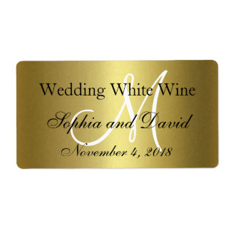 Royal Gold Black Wedding Wine Label Monogram