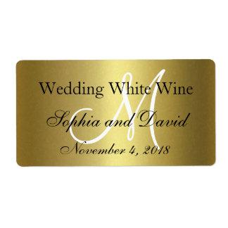 Royal Gold Black Wedding Wine Label Monogram
