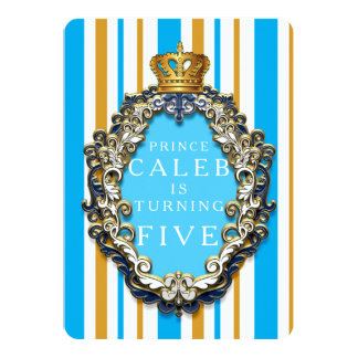 Royal Gold & Blue Crown Any Birthday Invitation