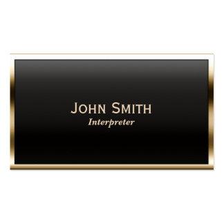 Royal Gold Border Interpreter Business Card