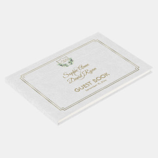 Royal Gold Crest Lush Greenery Wedding Guest Book