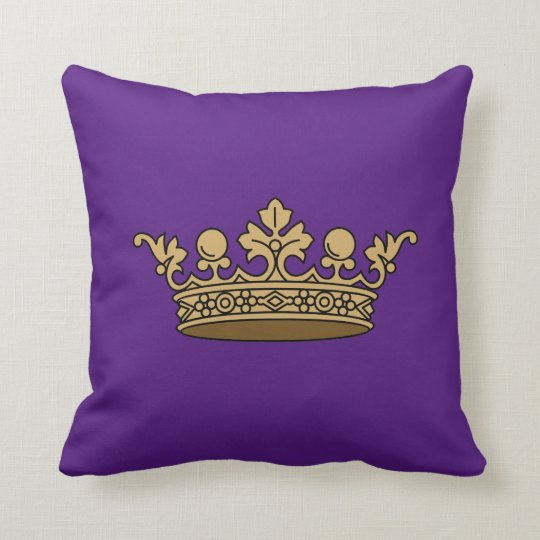 Royal Gold Crown On Deep Purple Background Throw Pillow