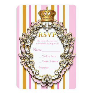 Royal Gold Crown Pink Striped Party RSVP Card