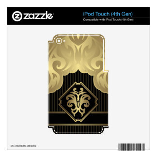 royal,gold,fleur de lis,pattern,on black,elegant, decal for iPod touch 4G