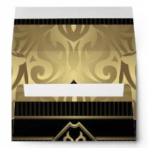 royal,gold,fleur de lis,pattern,on black,elegant,v envelope