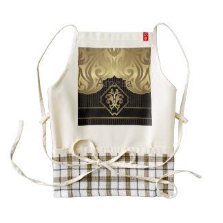 royal,gold,fleur de lis,pattern,on black,elegant,v zazzle HEART apron