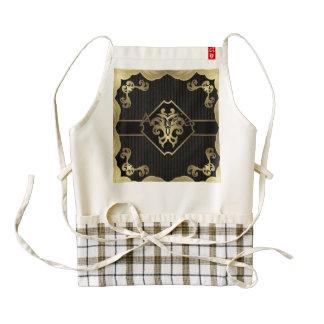 royal,gold,fleur de lis,pattern,on black,elegant, zazzle HEART apron