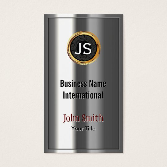 Royal Gold Label Chrome Metal Look Business Card