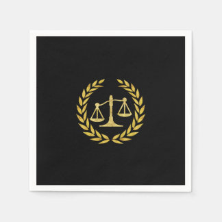 Royal Gold Laurel Wreath Law School Graduation Napkin