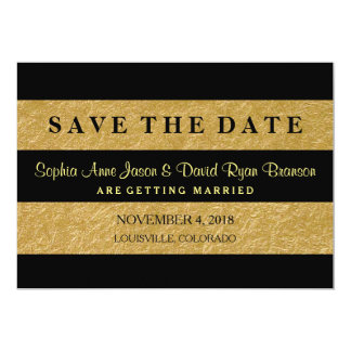 Royal Gold Leaf Stripes Wedding SAVE THE DATE Card