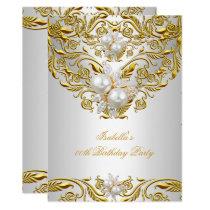 Royal Gold on White Pearl Elegant Birthday Party Card
