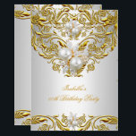 "Royal Gold on White Pearl Elegant Birthday Party Invitation<br><div class=""desc"">Elite Elegant Royal Gold on White Pearl, Floral Overlay Birthday Party Gold Jewel Image Birthday Party Elegant Celebration Party Invitation. Customize with your own details and age. Customize with your own details and age. Template for Sweet 16, 16th, Quinceanera 15th, 18th, 20th, 21st, 30th, 40th, 50th, 60th, 70th, 80th, 90,...</div>"
