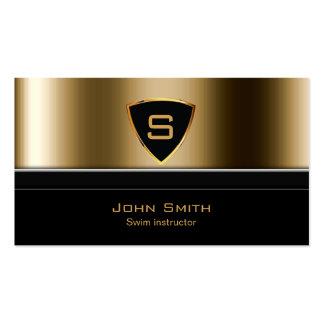 Royal Gold Shield Swim Instructor Business Card