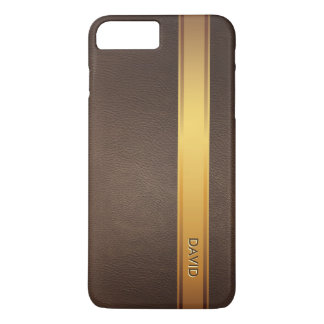 Royal Gold Stripe Custom Name Leather Background iPhone 7 Plus Case