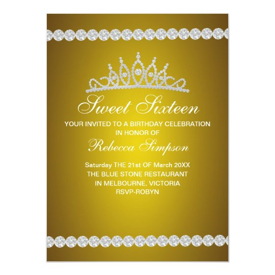 Royal Gold Tiara Sweet Sixteen Birthday Invitation