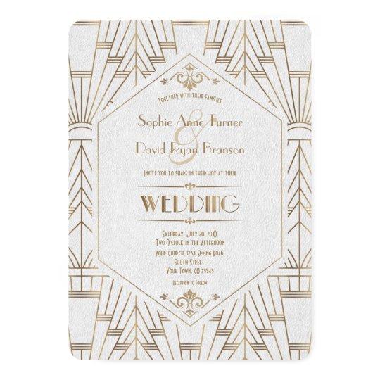 Great Gatsby Wedding Invites: Royal Gold White Great Gatsby 1920s Wedding Invitation