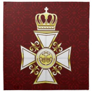 Royal Gold White Navy Cross Napkin