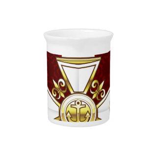 Royal Gold White Navy Cross Pitcher