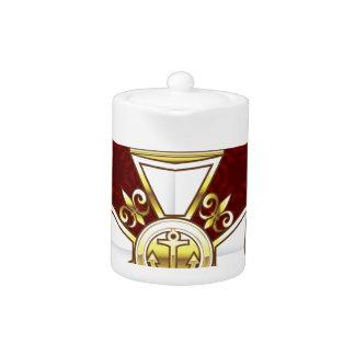 Royal Gold White Navy Cross Teapot