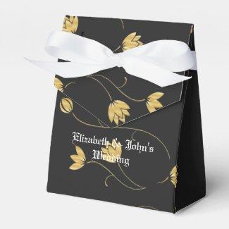 Royal Golden Flowers Party Favor Box