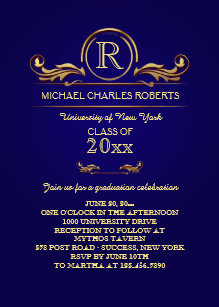 Monogram graduation invitations announcements zazzle royal golden monogram blue graduation invitation filmwisefo Images