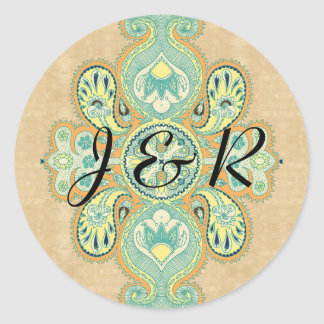 Royal Golden Paisley Classic Round Sticker