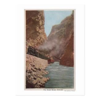 Royal Gorge, CO - View of Train Alongside River Postcard