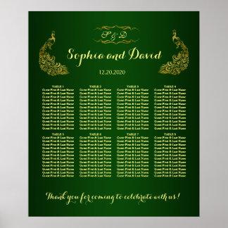 Royal Green Gold Peacock Wedding Seating Chart