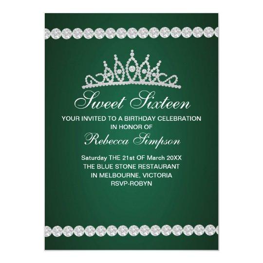 Royal Green Tiara Birthday Invitation