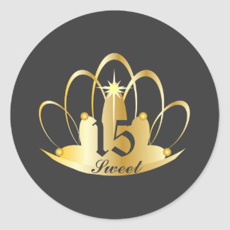 Royal Grey Sweet 15 Tiara Sticker-Customize