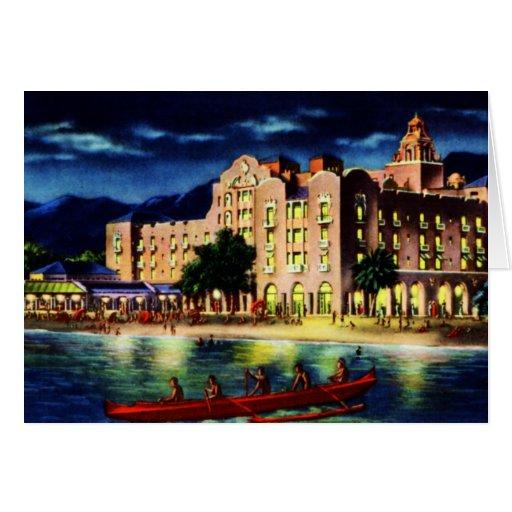 Royal Hawaiian Hotel at Night Honolulu Hawaii Greeting Card