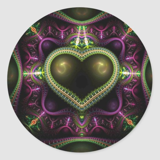 Royal Heart Fractal Classic Round Sticker