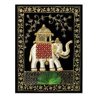 ROYAL INDIAN ELEPHANT  RIDE ZARI ART POSTCARD