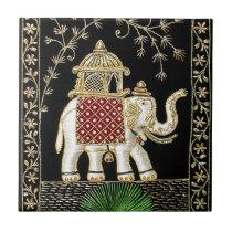 ROYAL INDIAN ELEPHANT  RIDE ZARI ART TILE