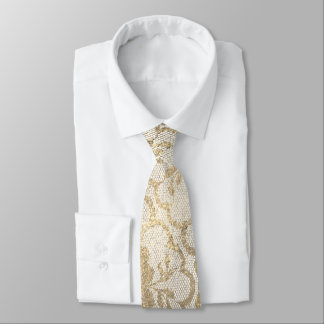 Royal Lace Foxier Gold Ivory Metallic White Glam Neck Tie