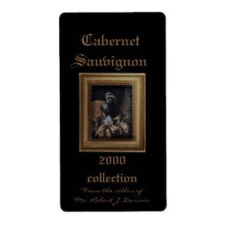 Royal Lady Monkey Framed Portrait Wine Label Shipping Label