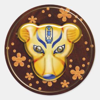 royal leopard classic round sticker
