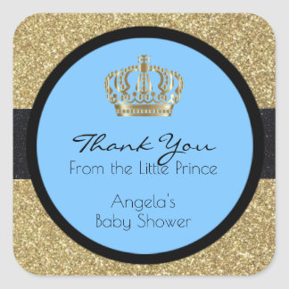 Royal Little Prince Baby Shower Blue Boy Square Sticker