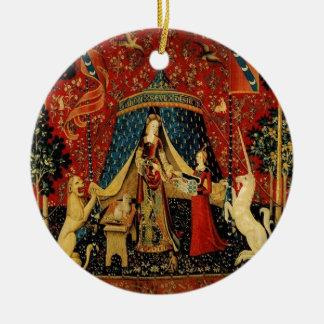 Royal Maiden and Unicorn Ceramic Ornament