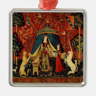 Royal Maiden and Unicorn Metal Ornament