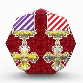 Royal Medal Vector Art Gold Silver Striped Ribbon Acrylic Award