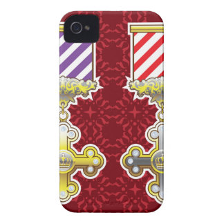 Royal Medal Vector Art Gold Silver Striped Ribbon iPhone 4 Case-Mate Case
