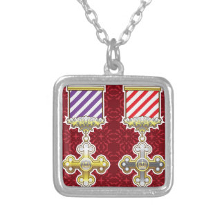 Royal Medal Vector Art Gold Silver Striped Ribbon Square Pendant Necklace