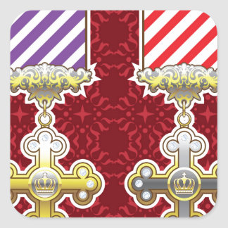 Royal Medal Vector Art Gold Silver Striped Ribbon Square Sticker
