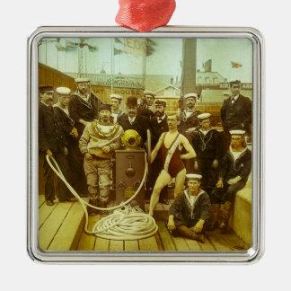 Royal Naval Exhibition 1891 Magic Lantern Slide Metal Ornament