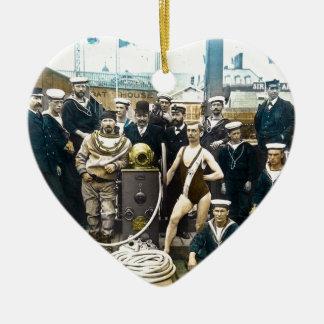 Royal Naval Exhibition 1891 Vintage Hardhat Diver Ceramic Ornament