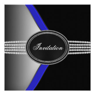 Royal Navy Blue Black Diamond Black Tie Party Custom Announcements